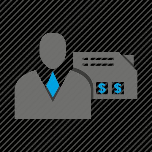 avatar, business man, folder, money, office, person, profile icon
