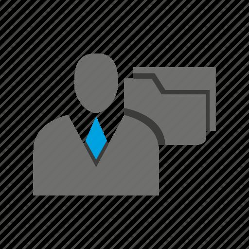avatar, business man, file, folder, office, person, profile icon