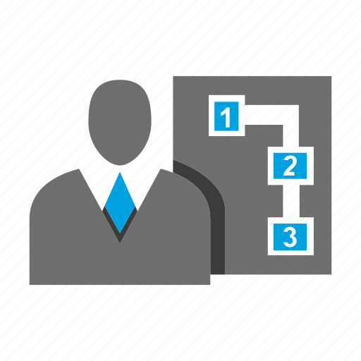 avatar, business man, diagram, office, person, profile, step icon