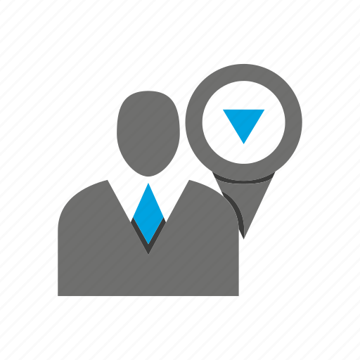avatar, business man, location, office, person, pin, profile icon