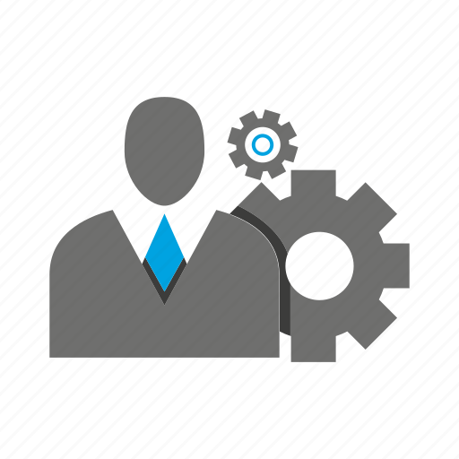 avatar, business man, cog, gear, office, person, profile icon