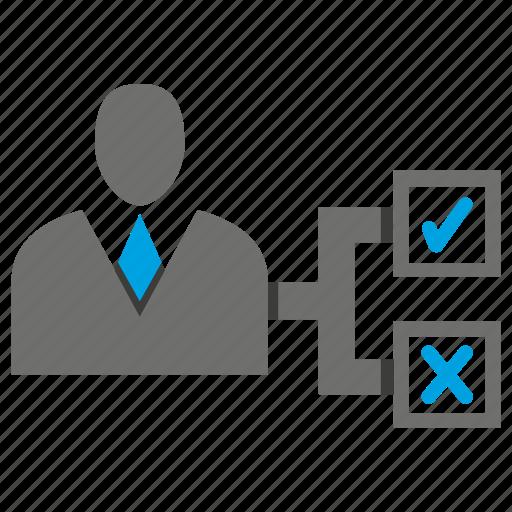 avatar, business man, check, office, person, profile, tick icon