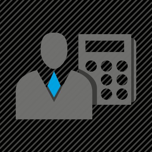 avatar, business man, calculator, compute, office, person, profile icon