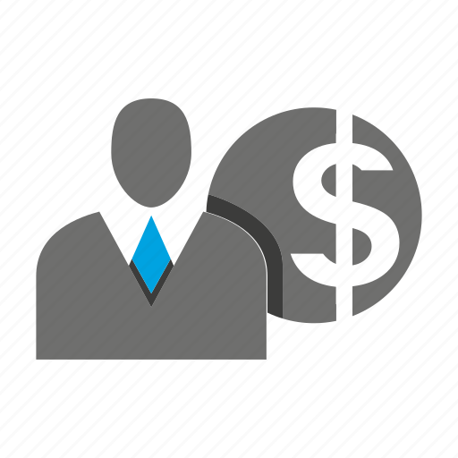 avatar, business man, coin, money, office, person, profile icon