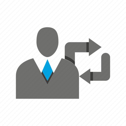 arrow, avatar, business man, office, person, profile, rotate icon