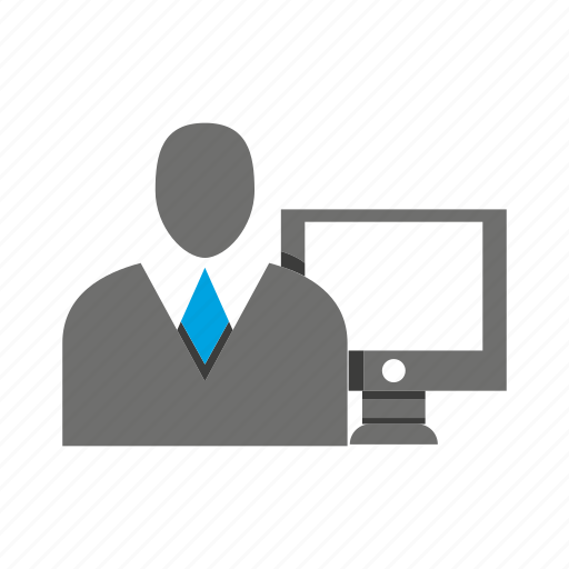 avatar, business man, computer, desktop, office, person, profile icon