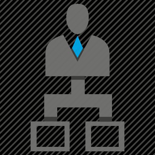 avatar, business man, chart, office, organization chart, person, profile icon