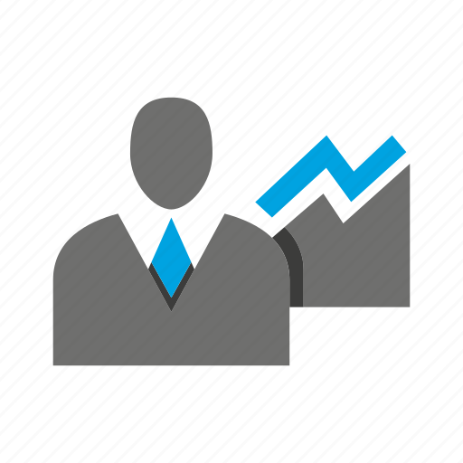 avatar, business man, chart, graph, office, person, profile icon