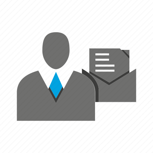 avatar, business man, document, letter, office, person, profile icon