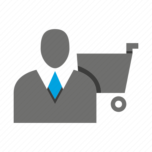 avatar, business man, cart, office, person, profile, shopping icon