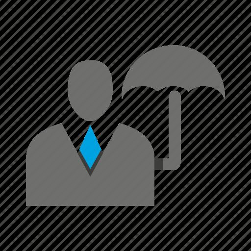 avatar, business man, office, person, profile, risk, umbrella icon