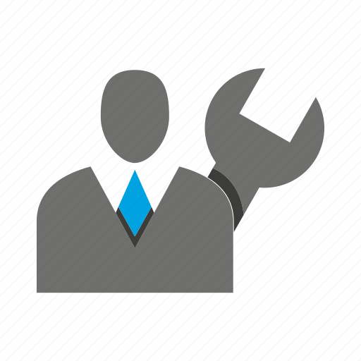 avatar, business man, fix, office, person, profile, wrench icon