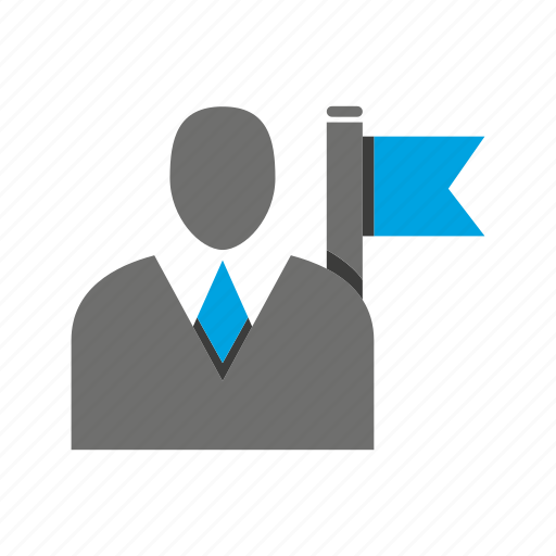 avatar, business man, flag, office, person, profile, target icon