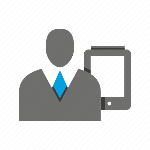 avatar, business man, mobile, office, person, phone, profile icon