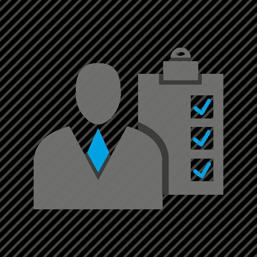 avatar, business man, check, clipboard, office, person, profile icon