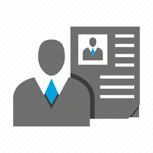 avatar, business man, human resource, office, person, profile, resume icon