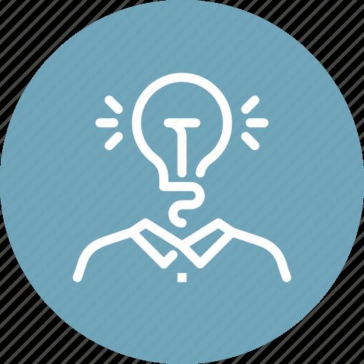 brainstorming, bulb, business, idea, imagination, light, solution icon