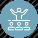 communication, conference, lecture, motivation, presentation, speech, team icon