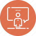 communication, conference, lecture, person, presentation, speaker, speech icon