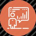 analytics, board, chart, man, presentation, report, statistics