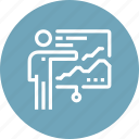 analytics, board, chart, man, presentation, report, statistics icon