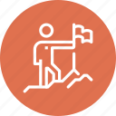 business, career, flag, goal, mission, person, success icon