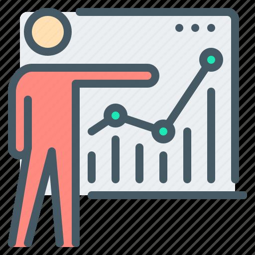 analytics, board, chart, person, presentation, report, training icon
