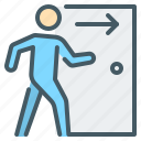 dismissal, employee, exit, go out, layoff, leave, person icon