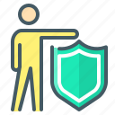 insurance, person, protection, security, shield icon