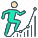 business, chart, dynamics, growth, person, positive, rising icon