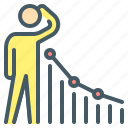 business, chart, dynamics, loss, negative, person, recession icon