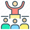 speech, presentation, conference, speaker, influence, lecture, motivation icon