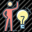 bulb, creative, idea, light, person, solution