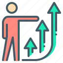 business, chart, growth, person, up icon