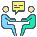 business, communication, conversation, interview, negotiation icon