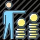 coin, dollar, finance, financial, management, money, person