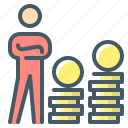 banker, business, coins, finance, money, person icon