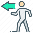 go, left, movement, on the left, person, walk icon