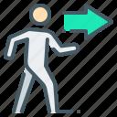 go, movement, on the right, person, right, walk icon