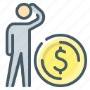 coin, dollar, money, person, ponder, think, thinker icon