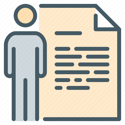 biography, cause, dossier, employee, person, profile, resume icon