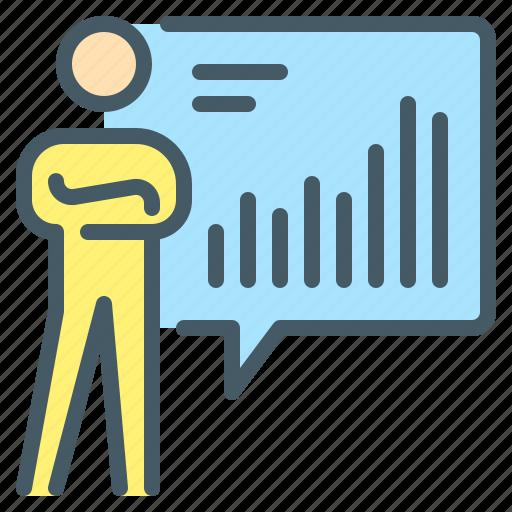 business, chart, person, report, statistics icon