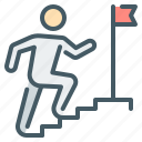 business, career, flag, mission, person, rise, step icon