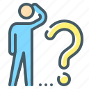 ask, ask a question, person, question, solution, think icon