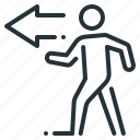 business, go, left, on the left, person, walk icon