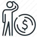 dollar, ponder, thinker, money, think, person, coin icon