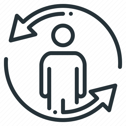 arrows, business, circle, cycle, in a circle, person, remarketing icon