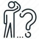 ask, ask a question, business, person, question, solution, think icon