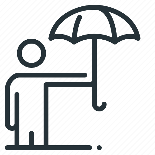business, insurance, person, protection, umbrella, under, under an umbrella icon