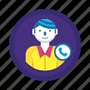 call, man, phone, user icon